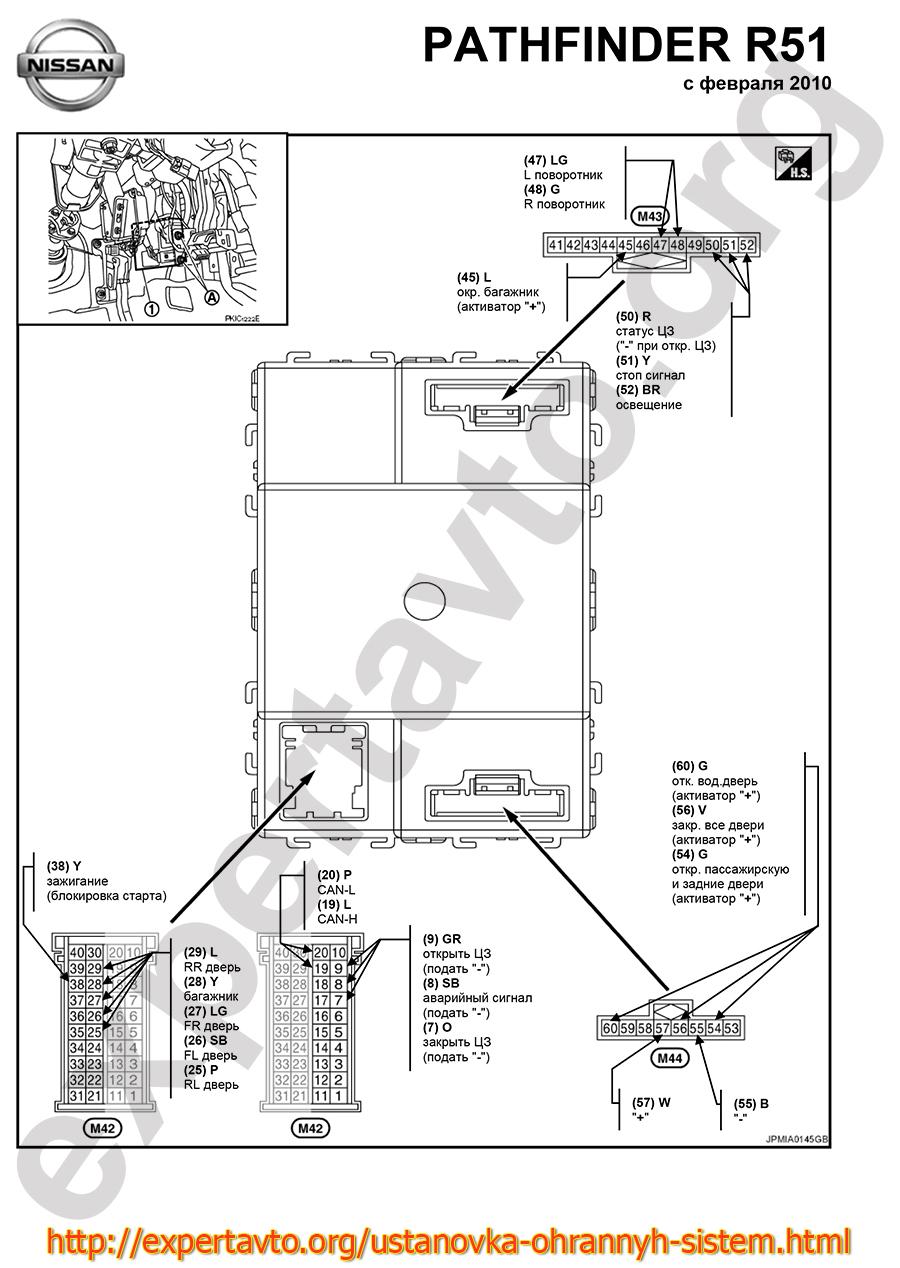 Точки подключения сигнализации Nissan Pathfinder R51