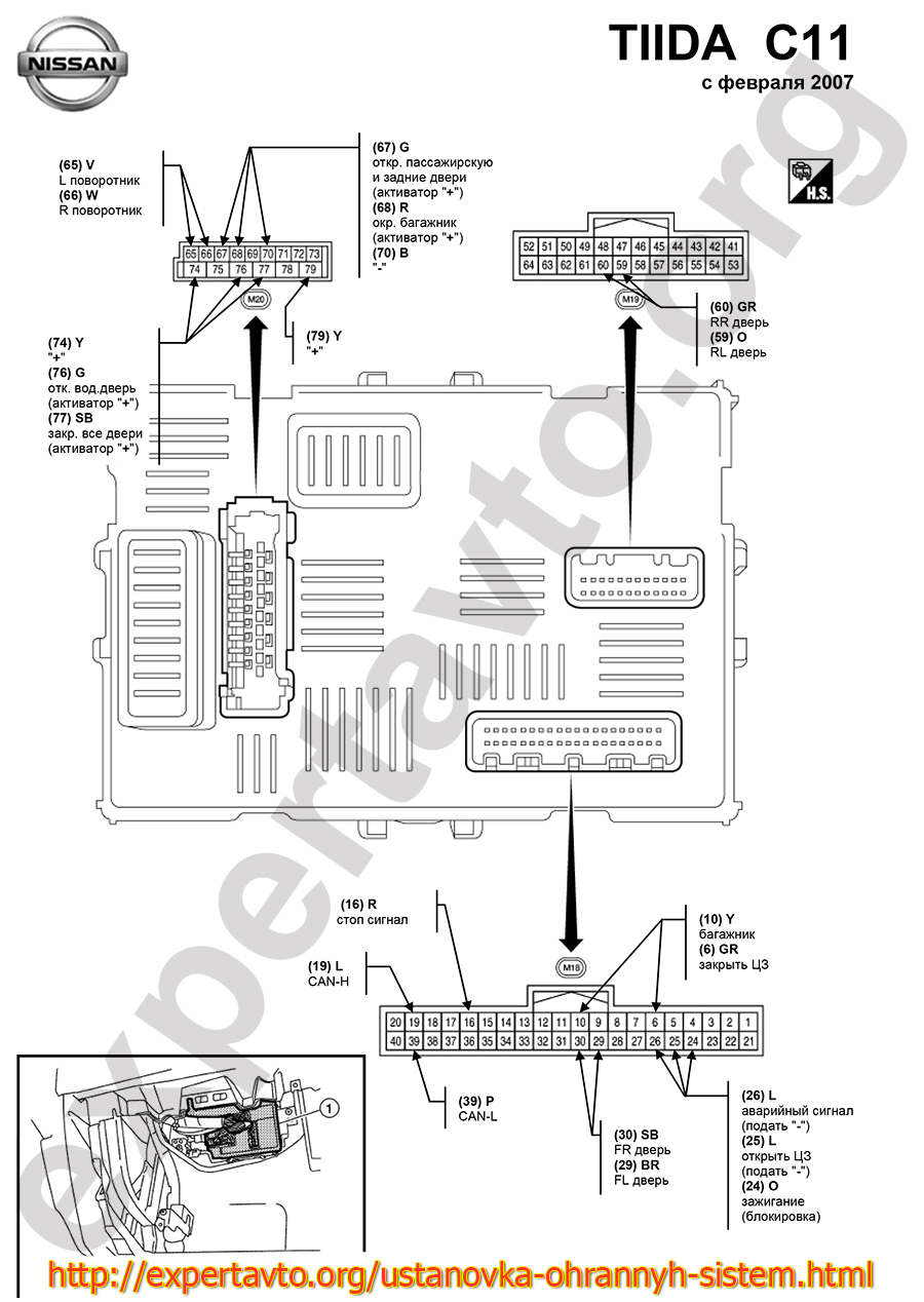 Точки подключения сигнализации Nissan Tiida C11
